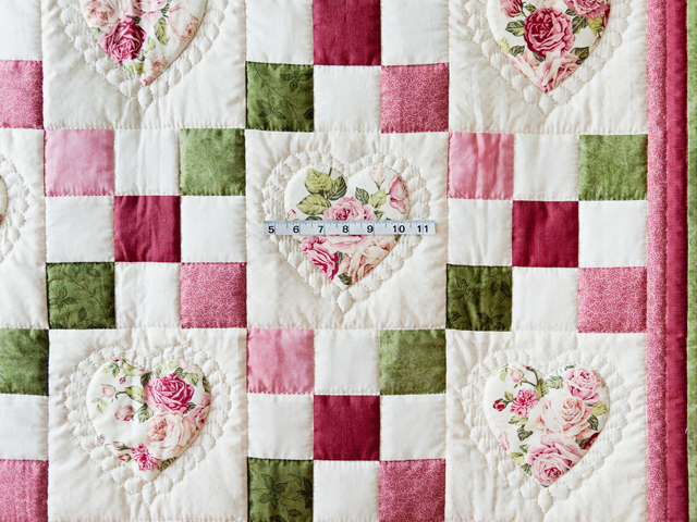Roses, Pink and Green Hearts and Nine Patch Quilt Photo 3