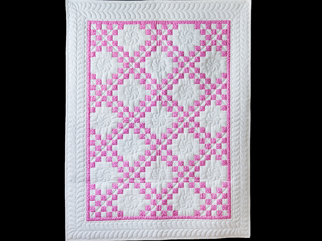Princess Pink & White Irish Chain Crib Quilt Photo 1