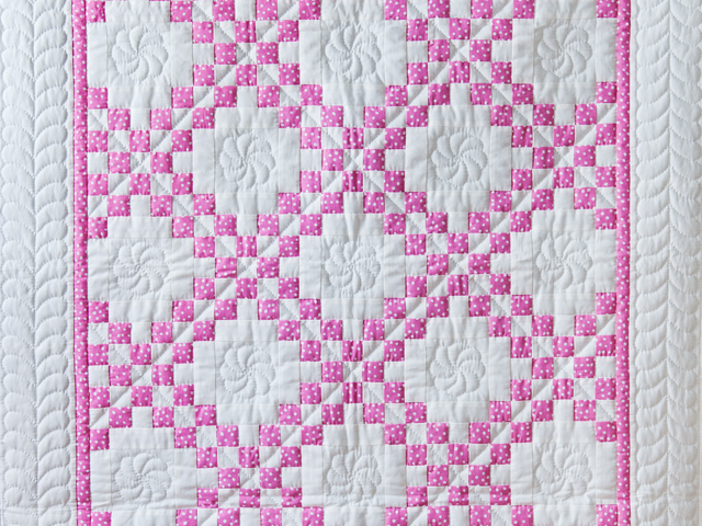 Princess Pink & White Irish Chain Crib Quilt Photo 2