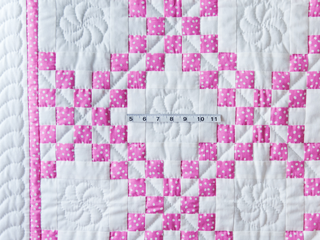 Princess Pink & White Irish Chain Crib Quilt Photo 3