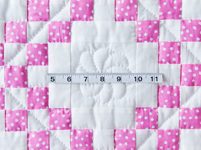 Princess Pink & White Irish Chain Crib Quilt Photo 4