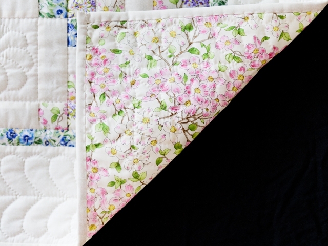Beautiful Floral & Cream Irish Chain Quilt Photo 5