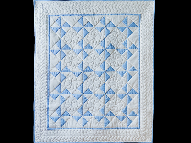Beautiful Blue & Natural Pinwheel Crib Quilt Photo 1