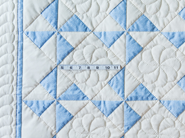 Beautiful Blue & Natural Pinwheel Crib Quilt Photo 3