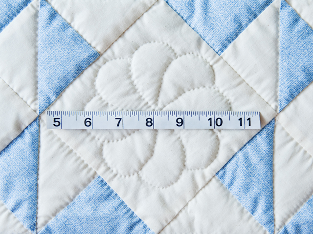 Beautiful Blue & Natural Pinwheel Crib Quilt Photo 4