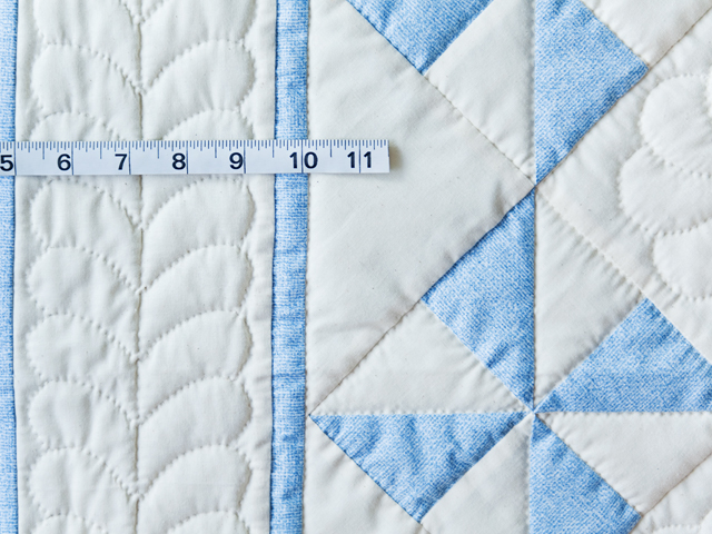 Beautiful Blue & Natural Pinwheel Crib Quilt Photo 5