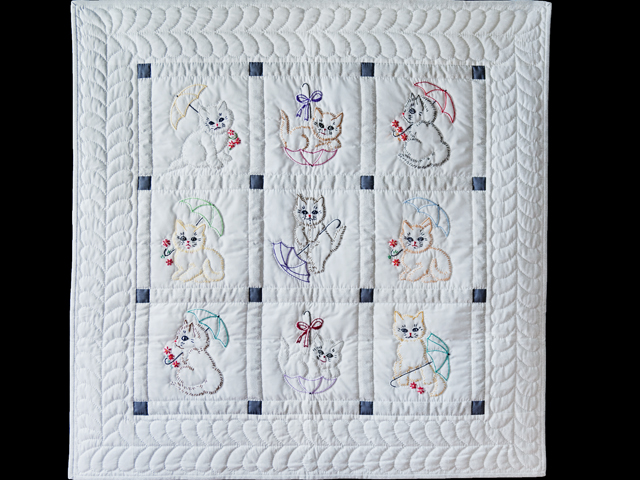 Classy Cats Embroidered Quilt Photo 1