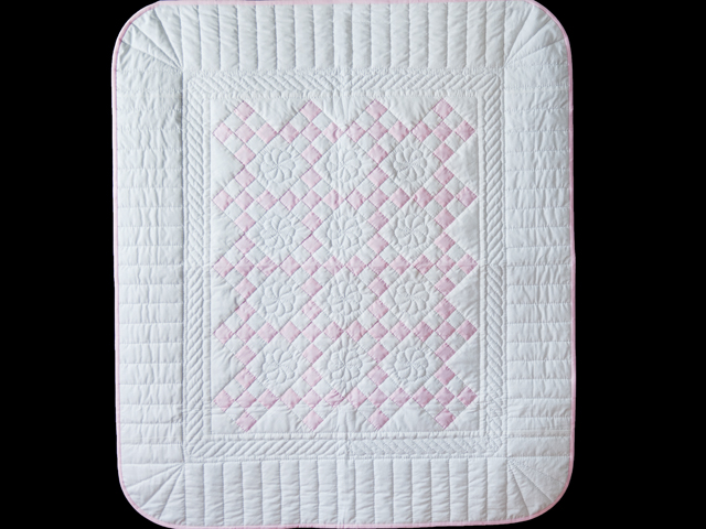 Princess Pink & White Nine Patch Crib Quilt Photo 1