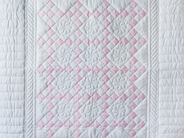 Princess Pink & White Nine Patch Crib Quilt Photo 2