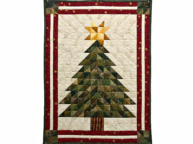 Dazzling Patchwork Christmas Tree Wall Hanging Photo 1