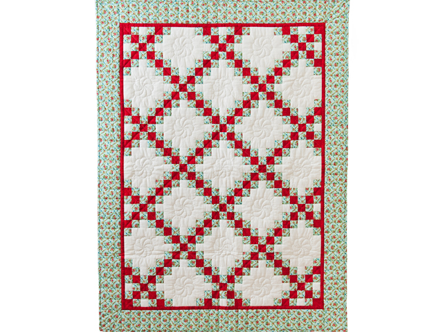Aqua, Red and Cream Irish Chain Quilt Photo 1