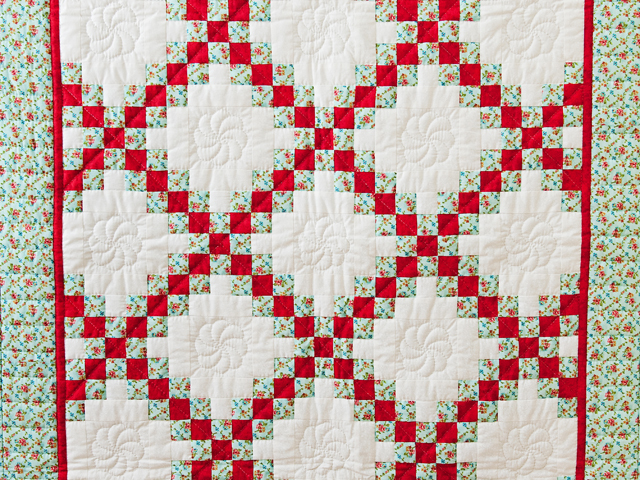 Aqua, Red and Cream Irish Chain Quilt Photo 2
