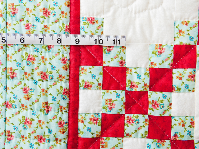 Aqua, Red and Cream Irish Chain Quilt Photo 3