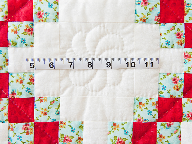 Aqua, Red and Cream Irish Chain Quilt Photo 4