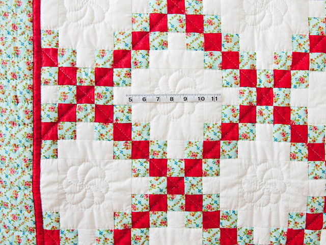 Aqua, Red and Cream Irish Chain Quilt Photo 5