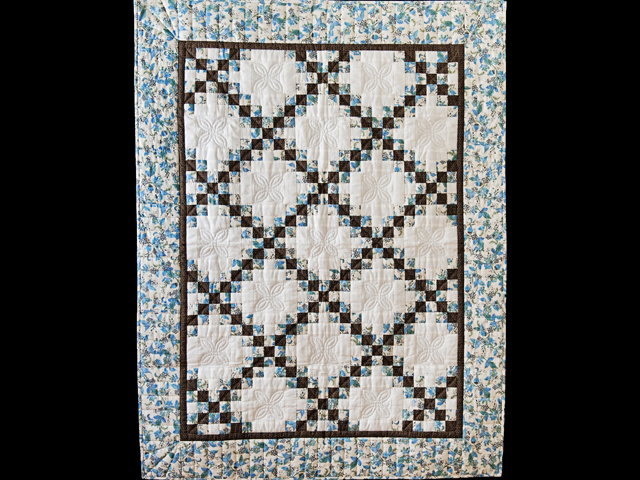 Beautiful Blue Floral, Brown and Cream Irish Chain Quilt Photo 1