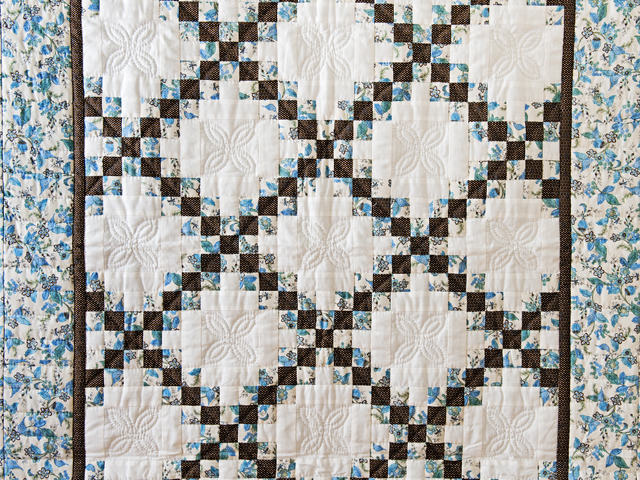 Beautiful Blue Floral, Brown and Cream Irish Chain Quilt Photo 2