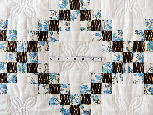 Beautiful Blue Floral, Brown and Cream Irish Chain Quilt Photo 3