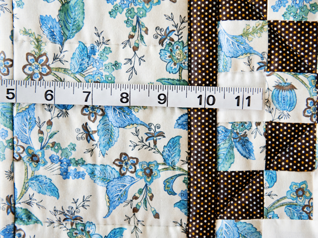Beautiful Blue Floral, Brown and Cream Irish Chain Quilt Photo 4