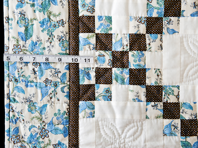 Beautiful Blue Floral, Brown and Cream Irish Chain Quilt Photo 5