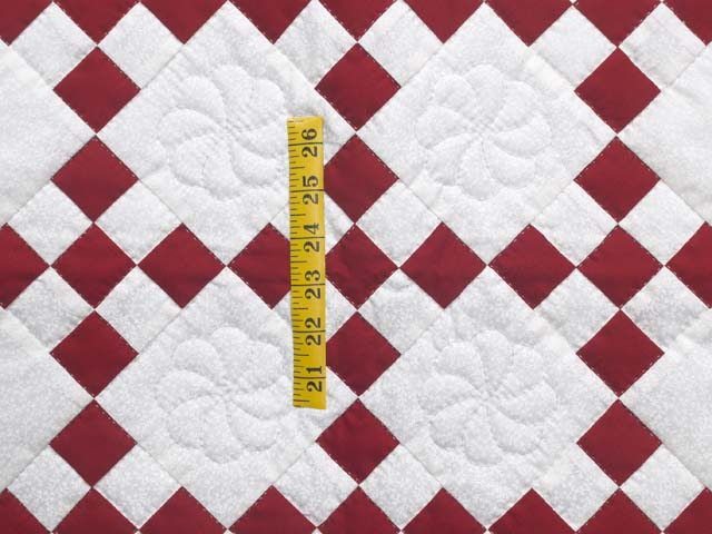 Red and White Nine Patch Crib Quilt Photo 3