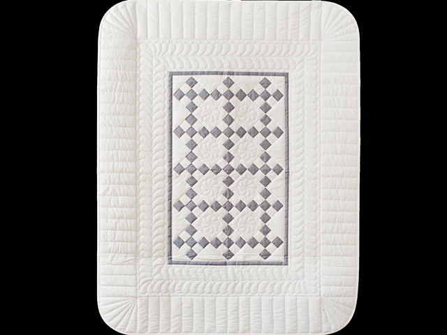 Gray and White Nine Patch Crib Quilt Photo 1