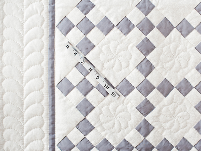 Gray And White Nine Patch Crib Quilt Photo 3