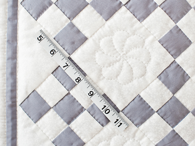 Gray and White Nine Patch Crib Quilt Photo 4