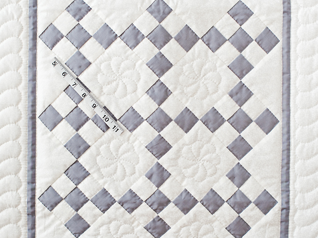 Gray and White Nine Patch Crib Quilt Photo 5
