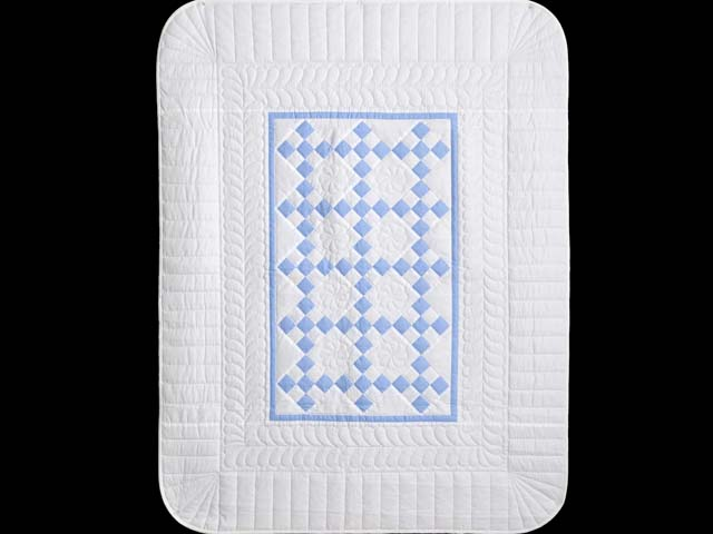 Soft Blue and White Nine Patch Crib Quilt Photo 1