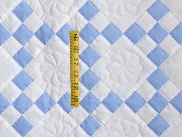 Soft Blue and White Nine Patch Crib Quilt Photo 3