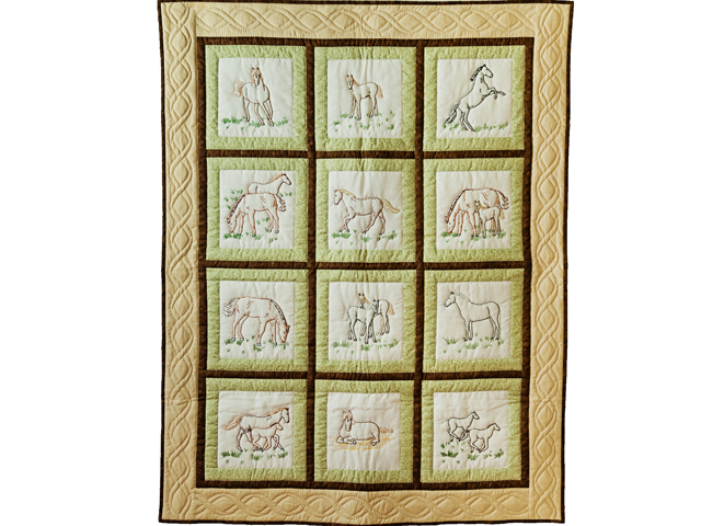 Beautiful Embroidered Horses Crib Quilt Photo 1