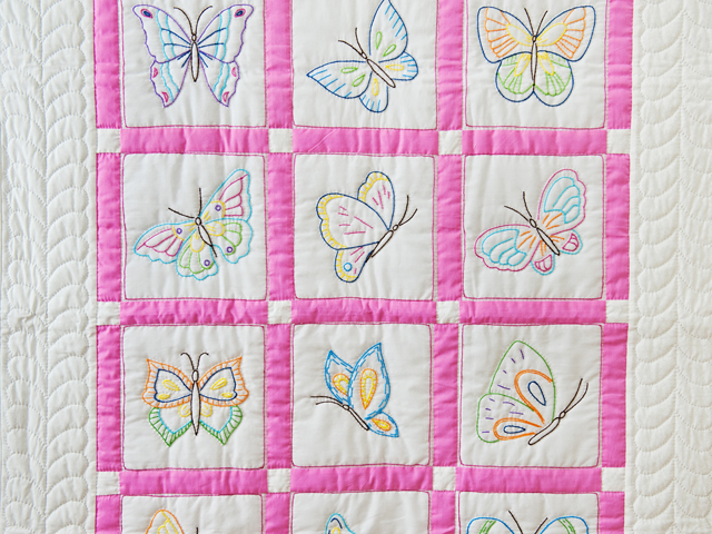 Pink and White Hand Embroidered Butterflies Crib Quilt Photo 2