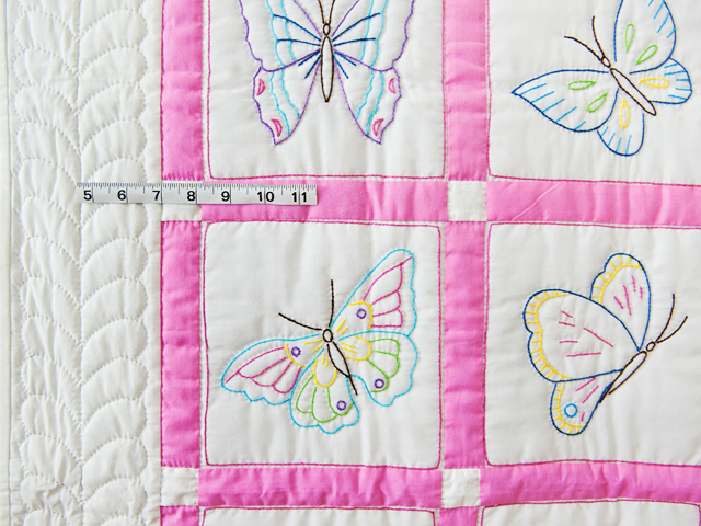 Pink and White Hand Embroidered Butterflies Crib Quilt Photo 5