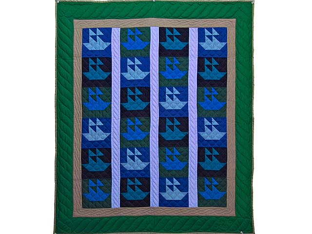 Indiana Amish Sailing Ships Quilt Photo 1