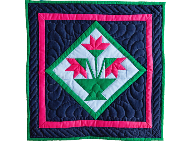 Indiana Amish Navy and Magenta Tulips Wall Hanging Photo 1