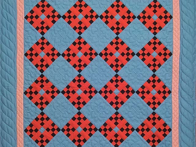 Indiana Amish Nine Patch Cross Quilt Photo 2