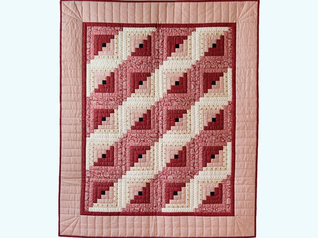 Gorgeous Red and Cream Log Cabin Quilt Photo 1