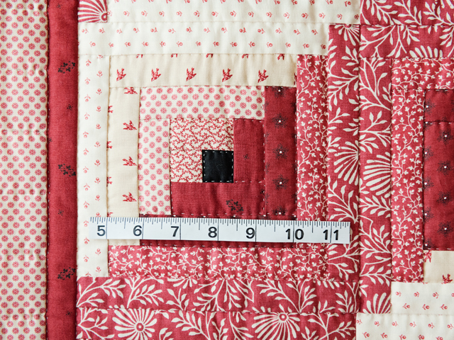 Gorgeous Red and Cream Log Cabin Quilt Photo 3