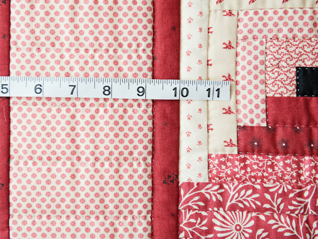 Gorgeous Red and Cream Log Cabin Quilt Photo 4
