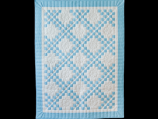 Beautiful Blue and White Irish Chain Crib Quilt Photo 1