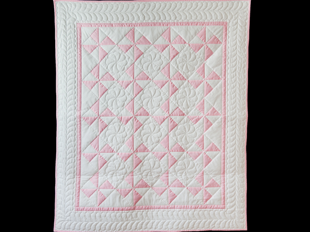 Princess Pink and White Pinwheel Crib Quilt Photo 1