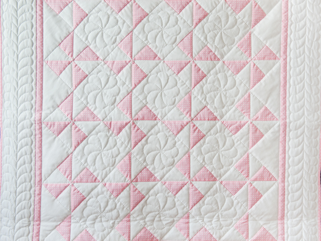 Princess Pink and White Pinwheel Crib Quilt Photo 2