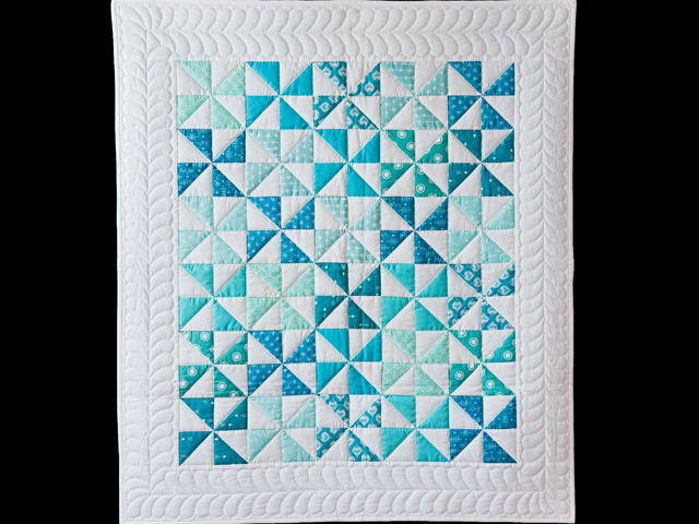Aqua Blue and Ivory Pinwheel Quilt Photo 1