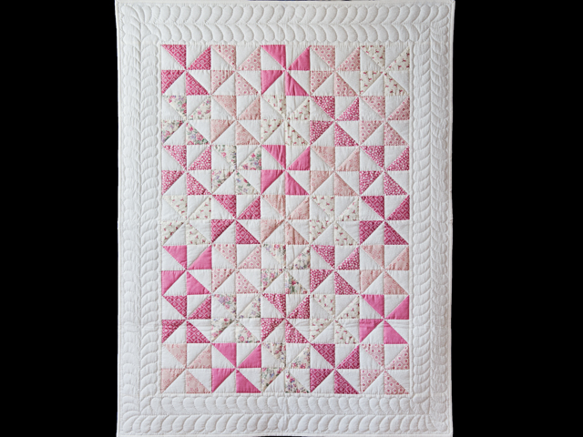 Lovely Floral Rose, Pink and Cream Pinwheel Quilt Photo 1