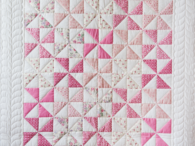 Lovely Floral Rose, Pink and Cream Pinwheel Quilt Photo 2
