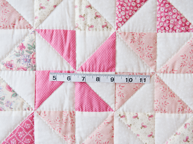 Lovely Floral Rose, Pink and Cream Pinwheel Quilt Photo 3