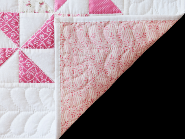 Lovely Floral Rose, Pink and Cream Pinwheel Quilt Photo 5