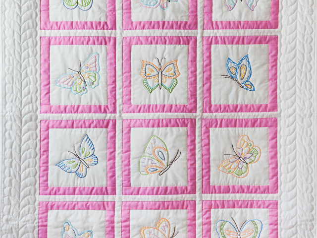 Beautiful Embroidered Butterflies Crib Quilt Photo 2