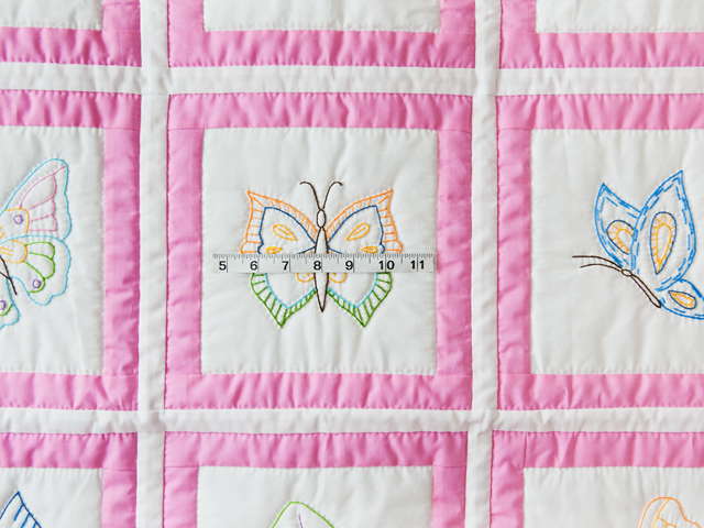 Beautiful Embroidered Butterflies Crib Quilt Photo 3